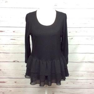 [Pebble&Stone Anth] 3/4 Sleeve Shirt Black Ruffles
